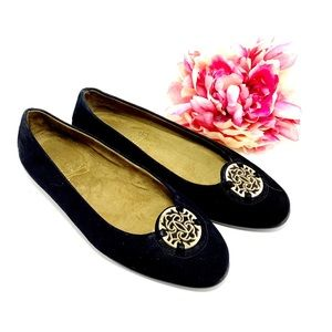 Aerosoles Black Suede Flats Gold Coin Size 9.5M
